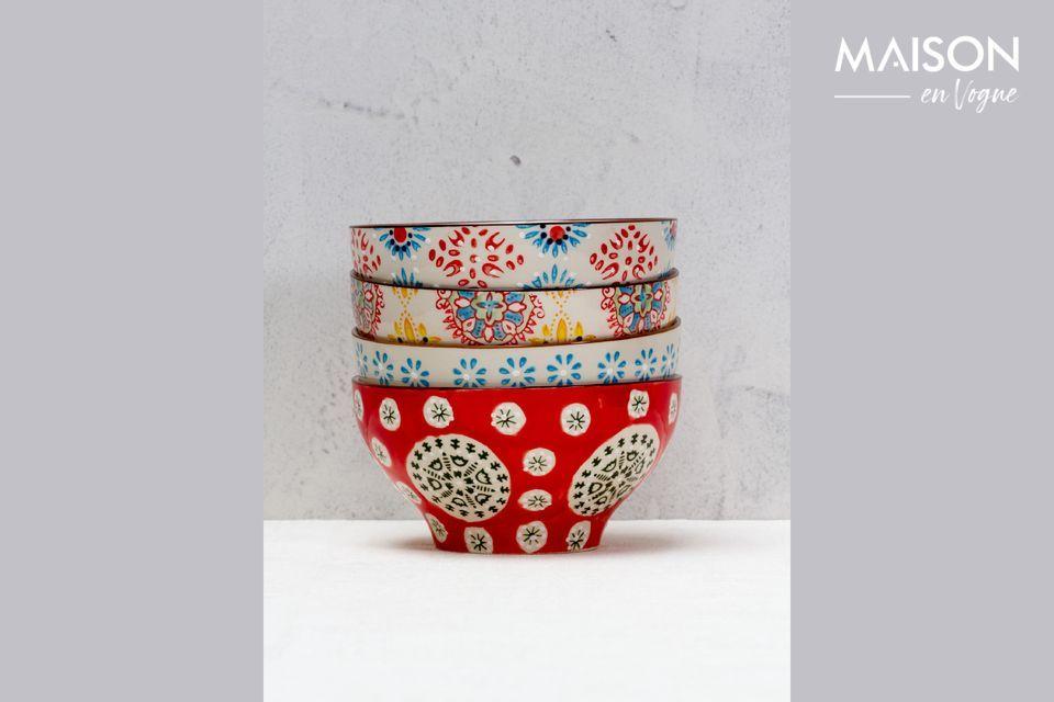 4 tazones de cerámica Bohemia Chehoma