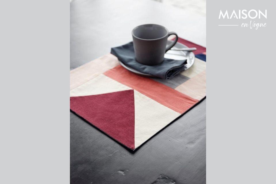 Alfombra de mesa Patchwork 33 x 48 cm en algodón rosa Nordal