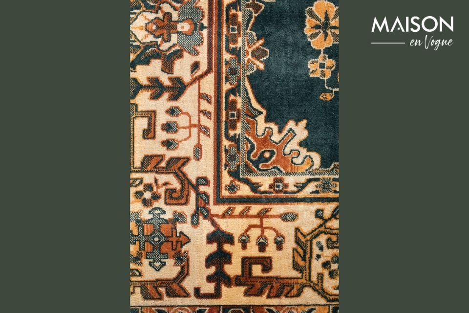 La parte superior de la alfombra está hecho de 85% de viscosa y 15% de poliéster