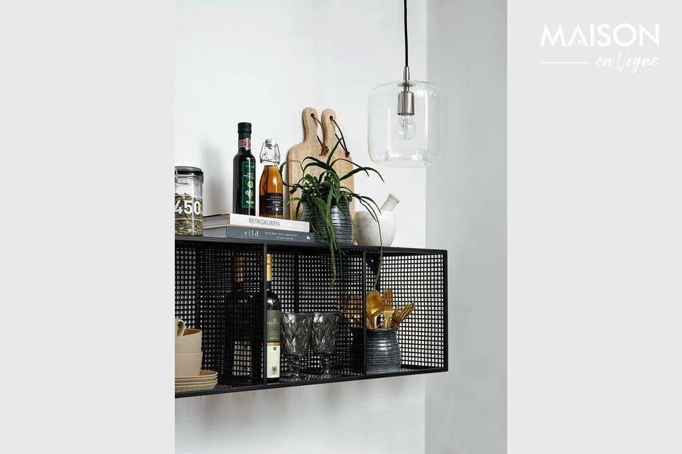 3 estantes de pared de metal lacado negro
