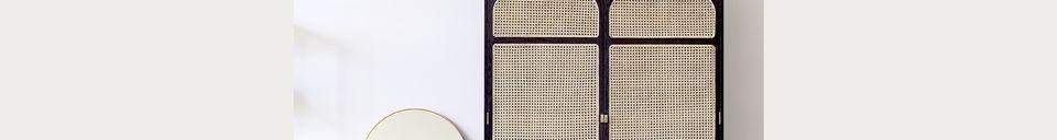 Descriptivo Materiales  Armario retro de lámpara de alerce en tela negra