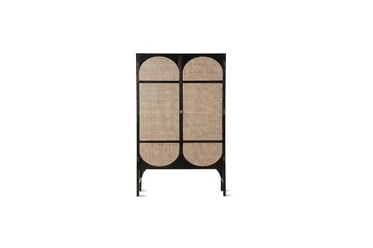 Armario retro Larchamp en lienzo negro con estantes