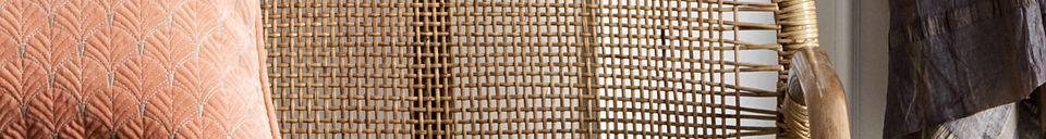 Descriptivo Materiales  Banco de ratán Bali con cojines grises