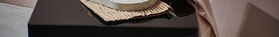 Descriptivo Materiales  Baneuil Mesa cuadrada negra con efecto espejo