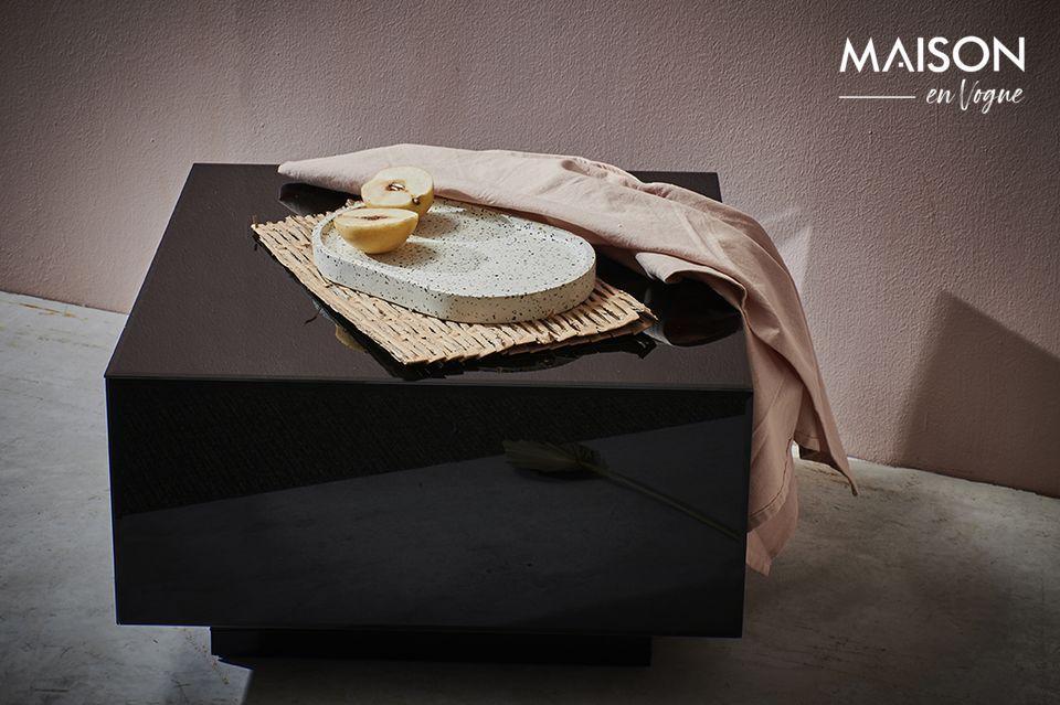 Baneuil Mesa cuadrada negra con efecto espejo HK Living