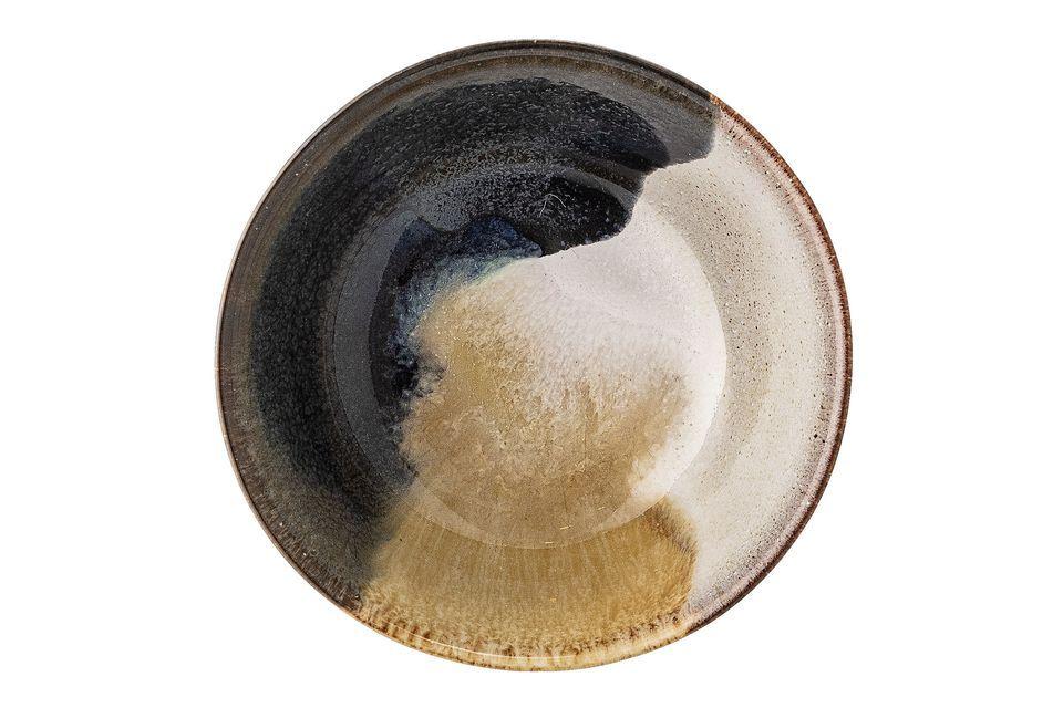 Hecho de gres, el bol multicolor de Jules toma tonos contrastados de beige, marrón y negro