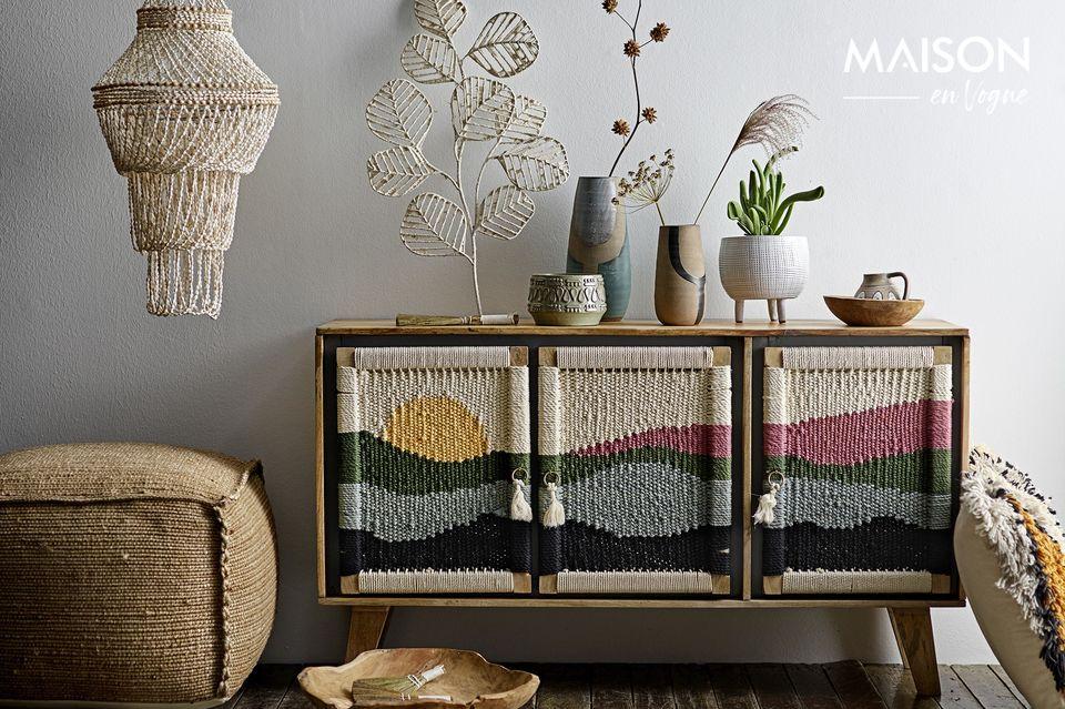 Bufete Mercey multicolor en madera de mango