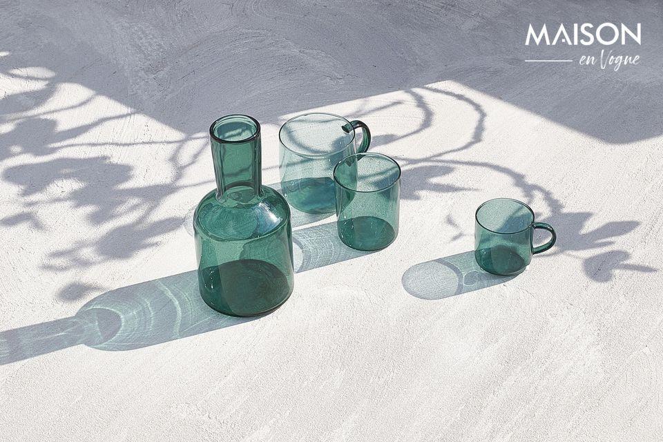 Juego de 4 tazas de vidrio azul cereza