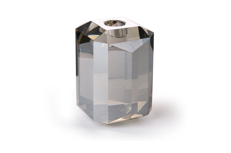 Candelabro de vidrio Cristal diamante gris HK Living