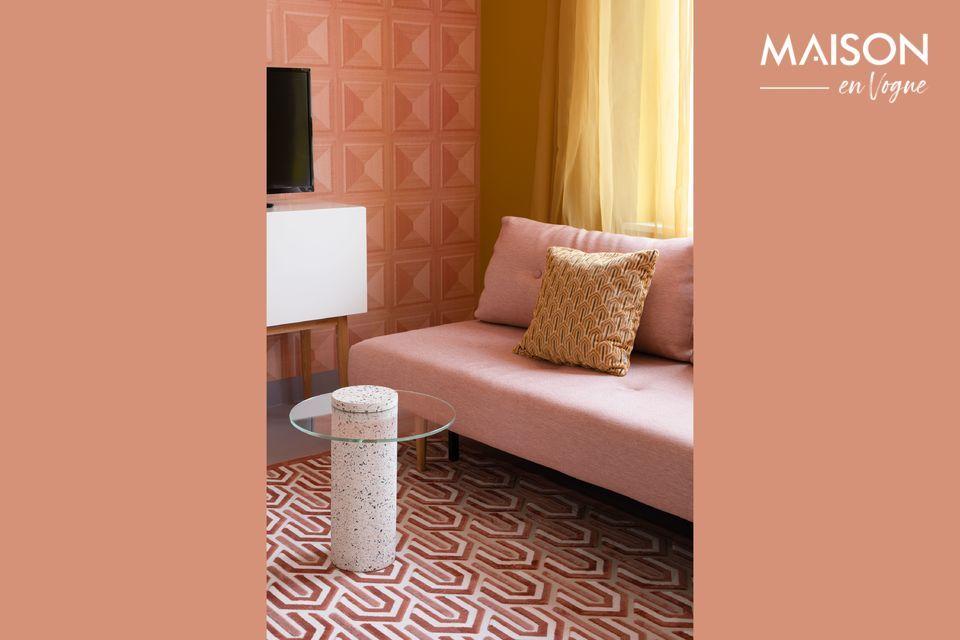Un cómodo cojín con un diseño contemporáneo