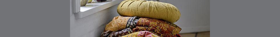 Descriptivo Materiales  Cojín de algodón amarillo Bournos