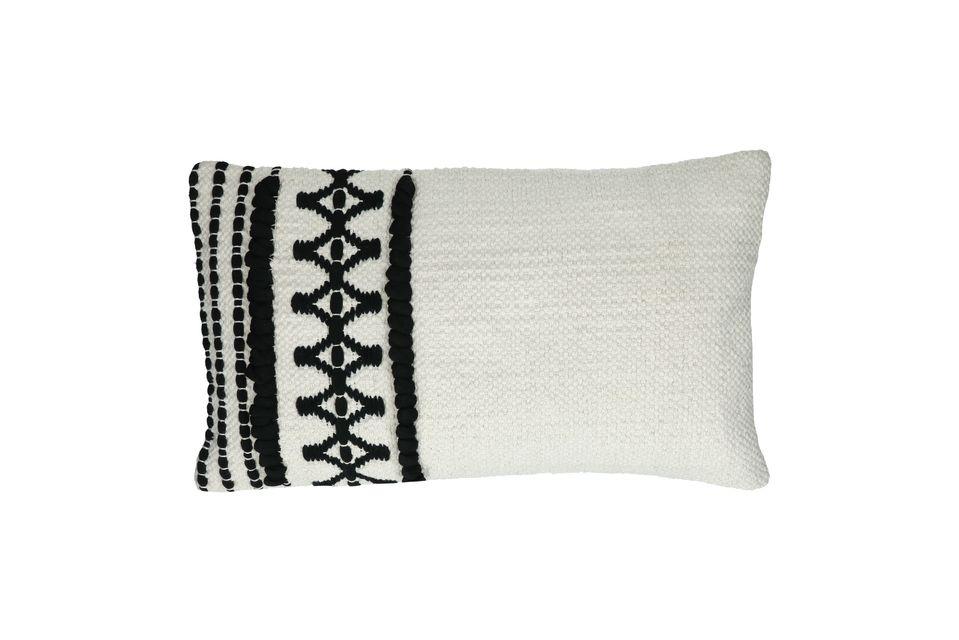 Cojín rectangular de algodón blanco y negro