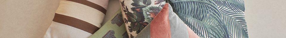 Descriptivo Materiales  Cojín de Bourth con impresión de hoja de palma