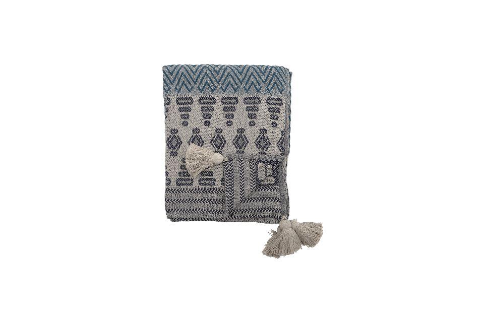 Colcha de algodón reciclado azúl Lacenas Bloomingville