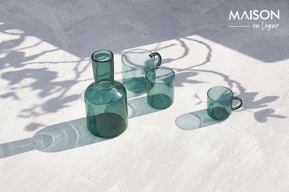 Vidrio de borosilicato azul para este conjunto.