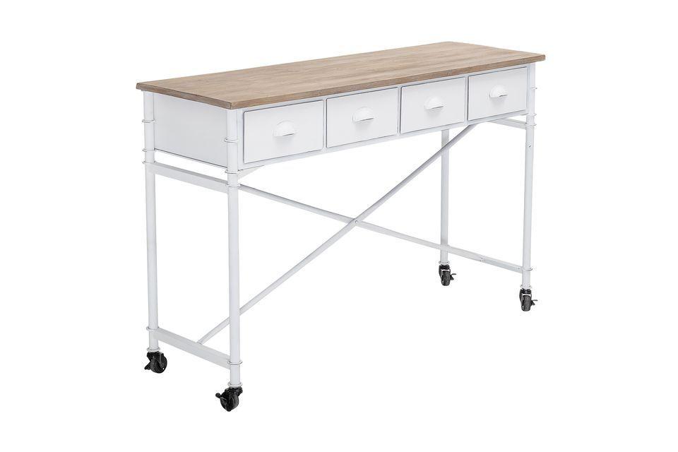 Un escritorio funcional y desmontable con un diseño industrial