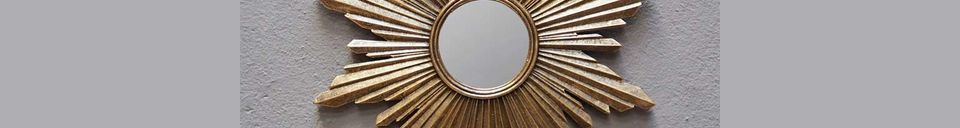 Descriptivo Materiales  Espejo Segrois en resina dorada
