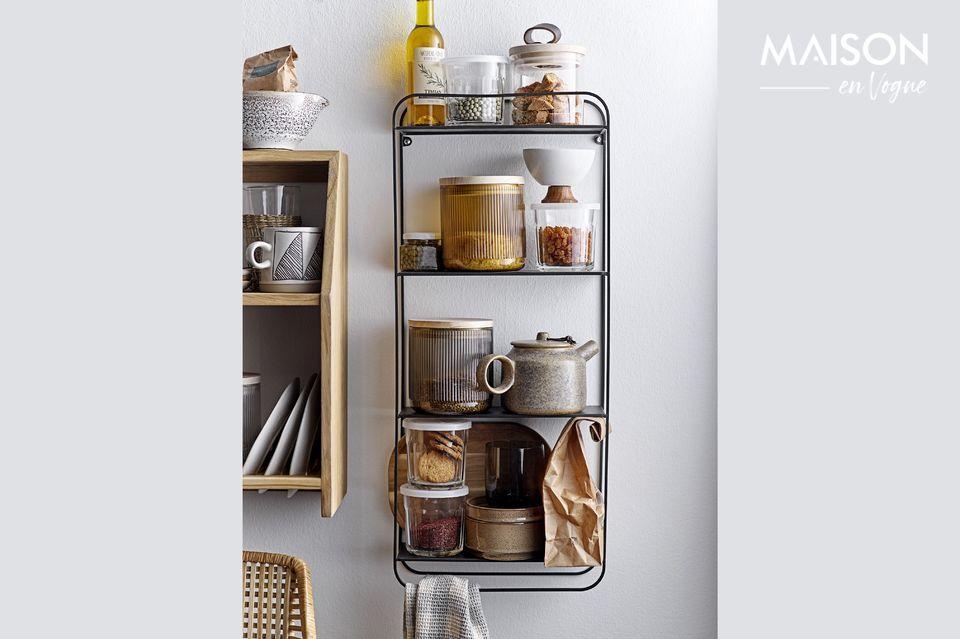 Este estante de roble con tres niveles le permitirá almacenar muchos objetos