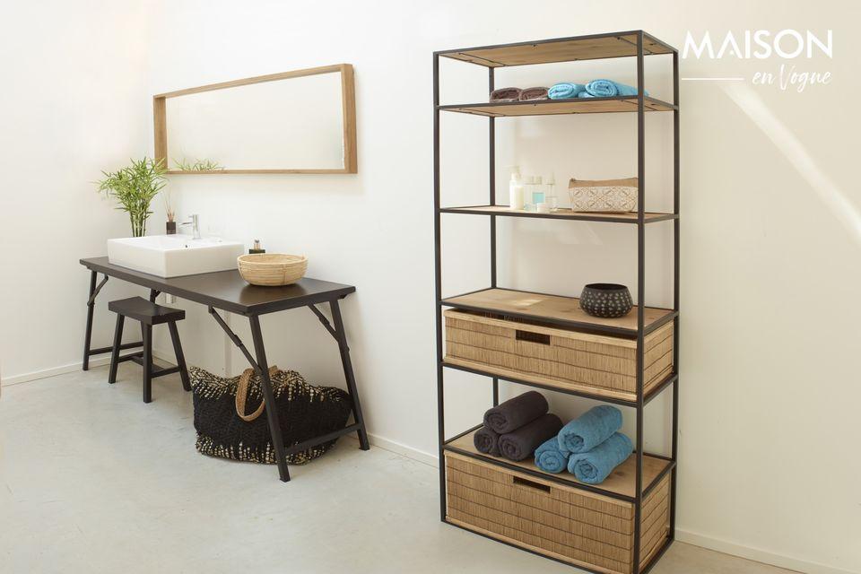La estantería Eszential de metal negro y madera natural es el mueble decorativo esencial para