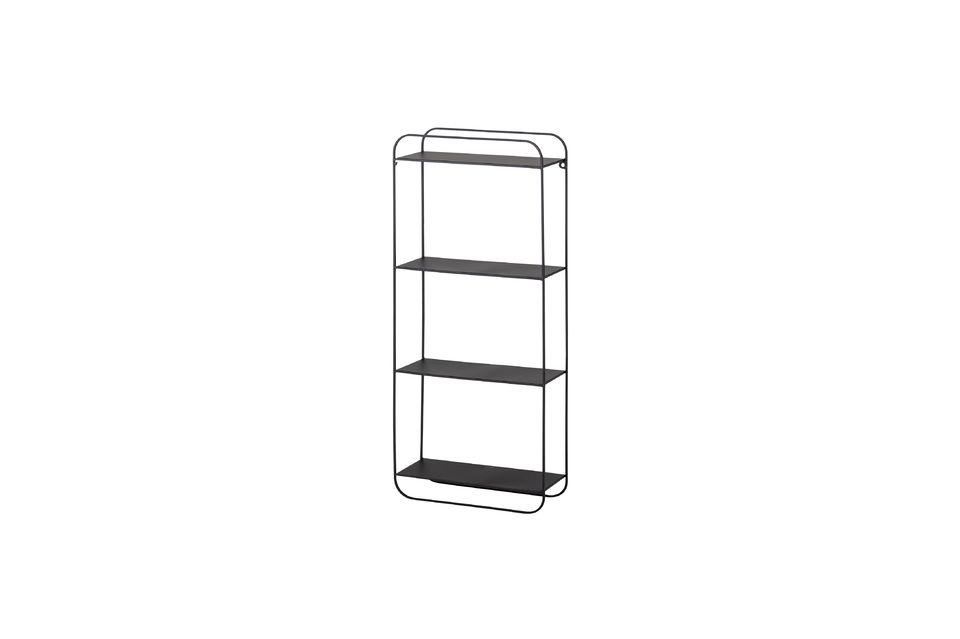 Esta estantería de metal negro