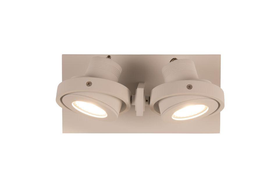 Esta lámpara de pared doble puede ser fijada al techo para iluminar la habitación en un color