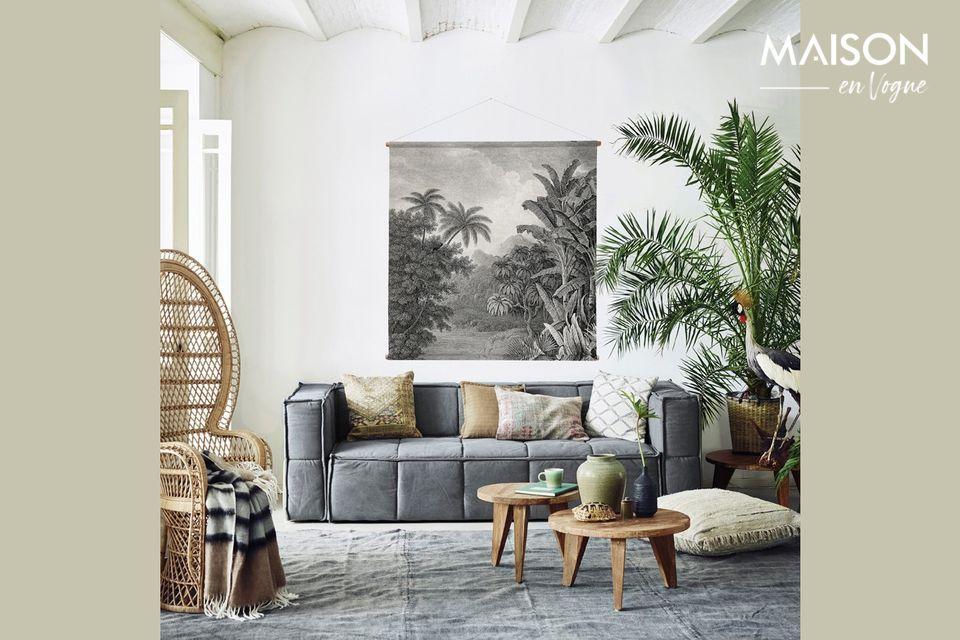 El cuadro mural Selva decora sus paredes con un suntuoso monocromo de gris