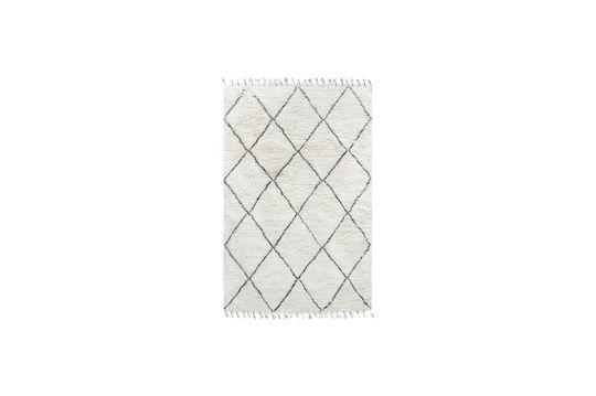 Gran alfombra bereber Larra de lana blanca y negra Clipped