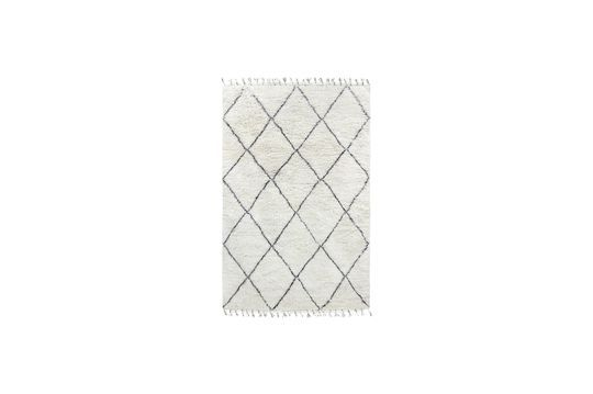Gran alfombra bereber Larra de lana blanca y negra