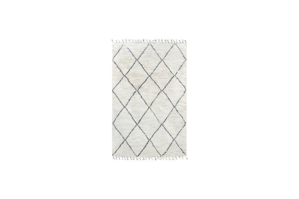 Gran alfombra bereber Larra de lana blanca y negra HK Living