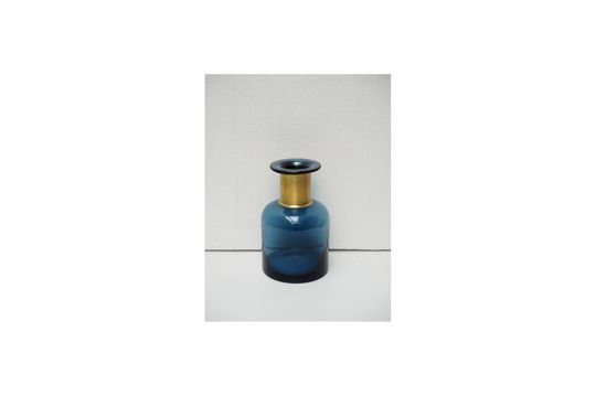 Jarrón azul de farmacia con cuello dorado