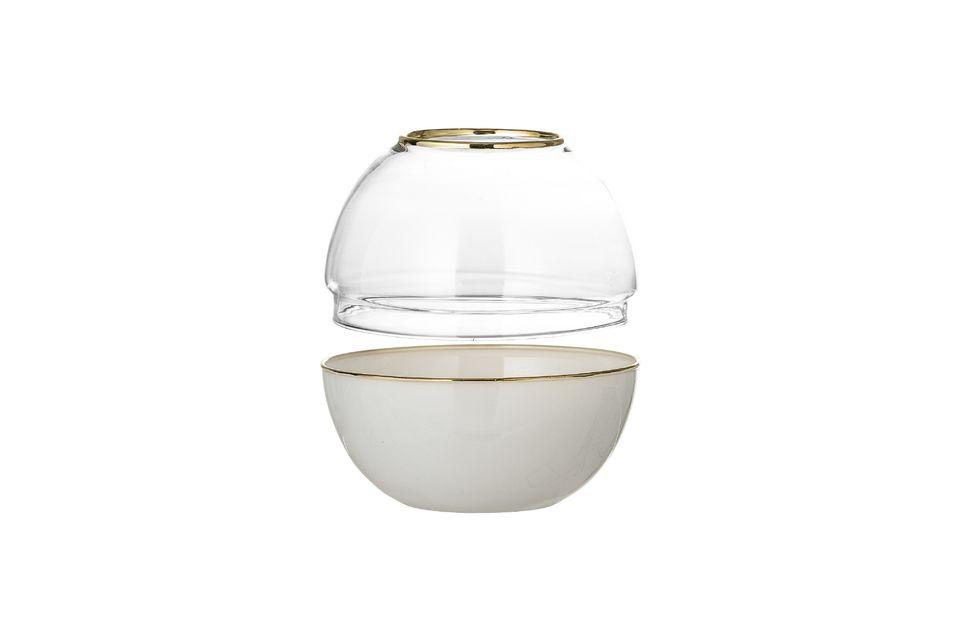 Este bonito globo de cristal blanco puede ser utilizado como un jarrón o para el almacenamiento