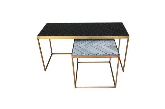 Juego de 2 mesas de centro Métro en cerámica y metal Clipped