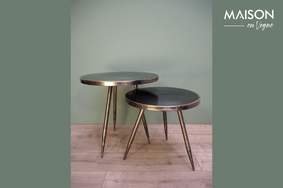 Juego de 2 mesas laterales de metal cepillado Flaxieu Chehoma