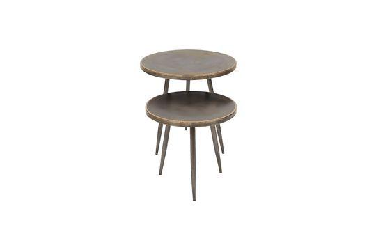 Juego de 2 mesas laterales de metal cepillado Flaxieu