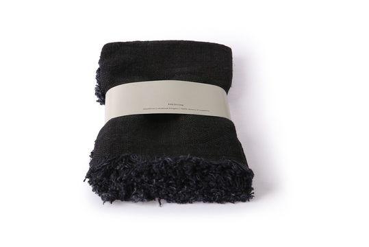 Juego de 2 toallas Fleury de lino antracita Clipped
