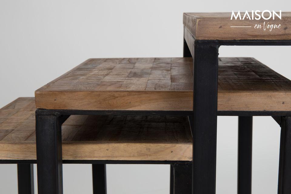 El conjunto de 3 mesas auxiliares Suri fabricadas por White Label Living da a su interior un toque