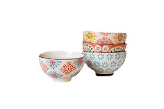 Juego de 4 pequeños cuencos de cerámica Bohemia