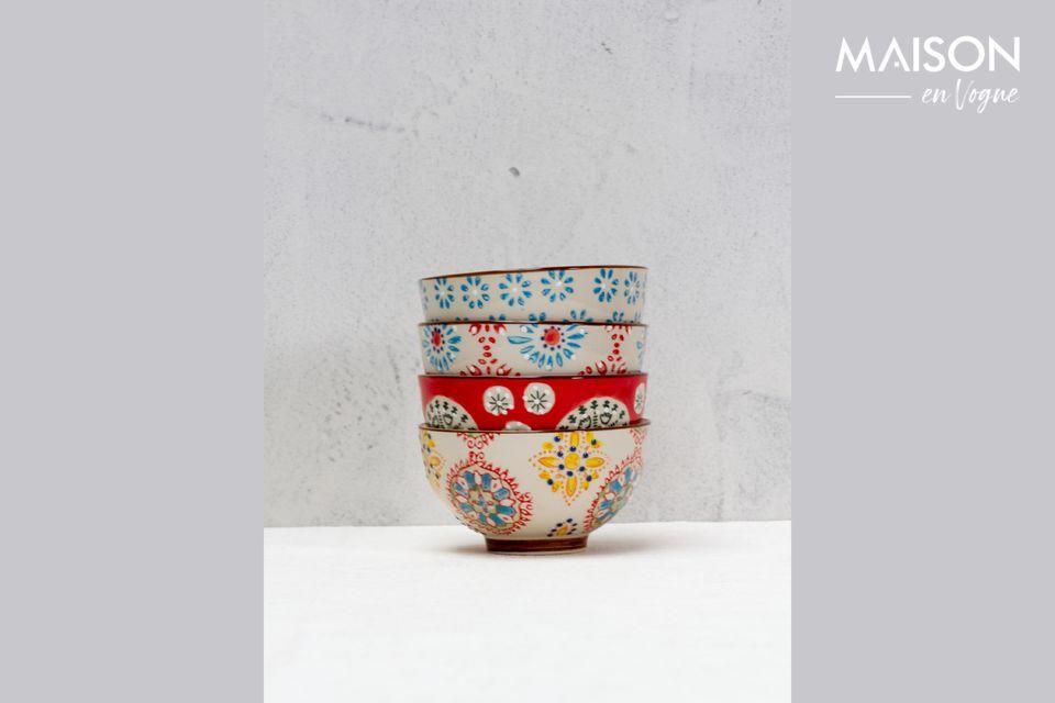 Juego de 4 pequeños cuencos de cerámica Bohemia Chehoma