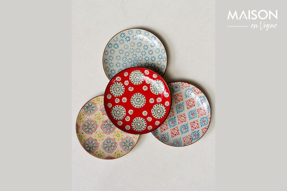Juego de 4 platos de cerámica Bohemia Chehoma