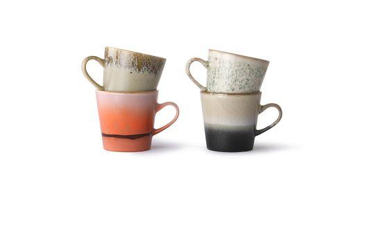 Juego de 4 tazas de cerámica americana de los años 70 Clipped