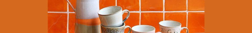 Descriptivo Materiales  Juego de 4 tazas de cerámica americana de los años 70