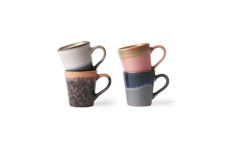 Juego de 4 tazas de cerámica para café expreso de los años 70 HK Living