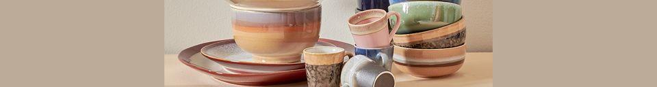 Descriptivo Materiales  Juego de 4 tazas de cerámica para café expreso de los años 70