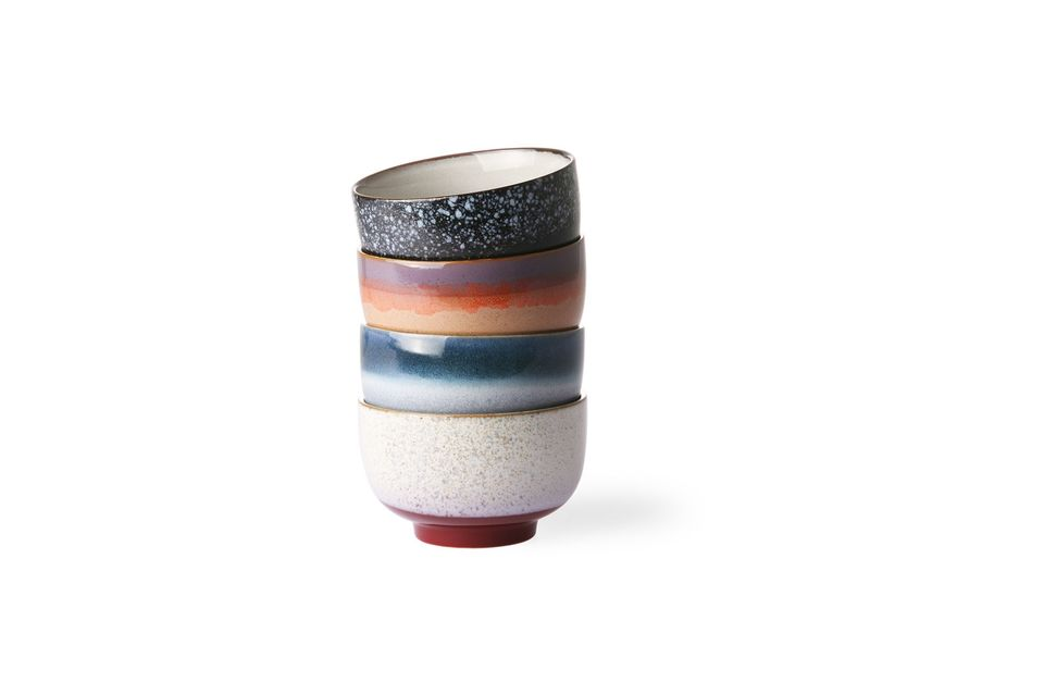 Juego de 4 tazones de cerámica de los años 70