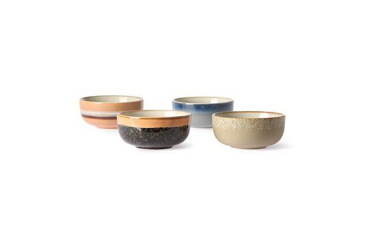 Juego de 4 tazones de cerámica medianos de los años 70 Clipped