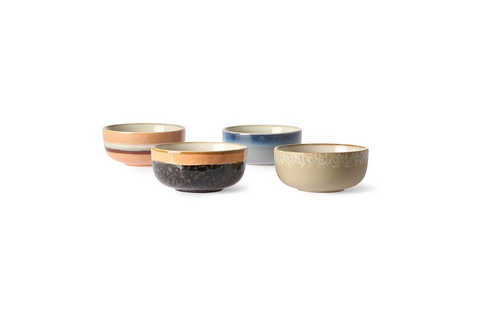Juego de 4 tazones de cerámica medianos de los años 70