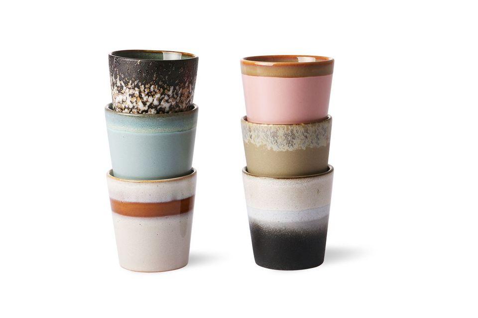 Juego de 6 tazas de cerámica de los años 70 HK Living