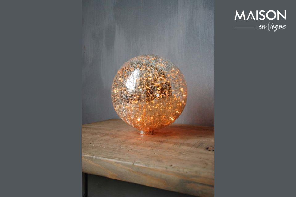 Lámpara de mesa de 20 cm de bola de vidrio mercurizado agrietado y guirnalda Chehoma