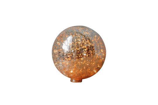 Lámpara de mesa de 20 cm de bola de vidrio mercurizado agrietado y guirnalda Clipped