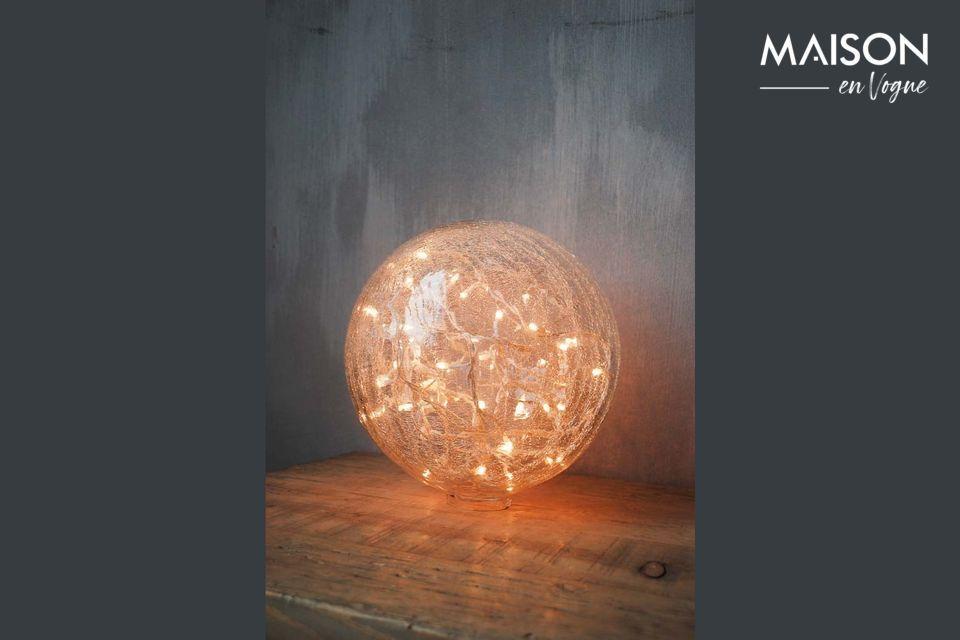 Lámpara de mesa de 25 cm de cristal transparente agrietado Chehoma